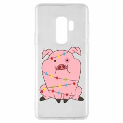 Чохол для Samsung S9+ Свиня обмотана гірляндою