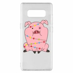 Чохол для Samsung Note 8 Свиня обмотана гірляндою