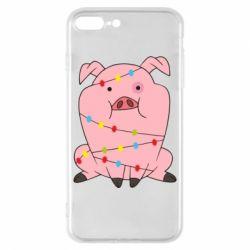 Чохол для iPhone 8 Plus Свиня обмотана гірляндою