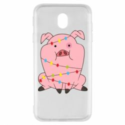 Чохол для Samsung J7 2017 Свиня обмотана гірляндою