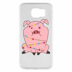Чохол для Samsung S6 Свиня обмотана гірляндою