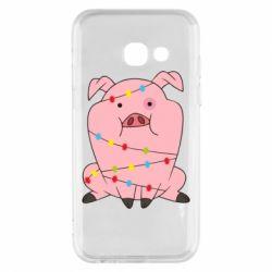 Чохол для Samsung A3 2017 Свиня обмотана гірляндою
