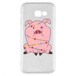 Чохол для Samsung A5 2017 Свиня обмотана гірляндою