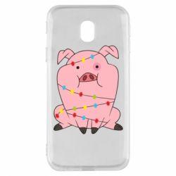 Чохол для Samsung J3 2017 Свиня обмотана гірляндою