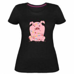 Жіноча стрейчева футболка Свиня обмотана гірляндою