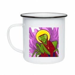 Кружка емальована Святий богомол