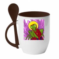 Кружка з керамічною ложкою Святий богомол
