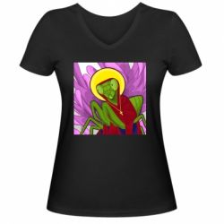 Жіноча футболка з V-подібним вирізом Святий богомол