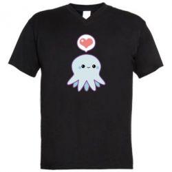 Мужская футболка  с V-образным вырезом Sweet Octopus