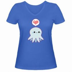 Женская футболка с V-образным вырезом Sweet Octopus