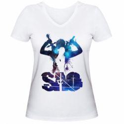 Жіноча футболка з V-подібним вирізом Sword Art Online space