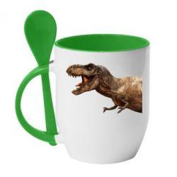 Кружка з керамічною ложкою T-rex in profile