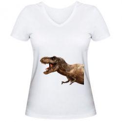 Жіноча футболка з V-подібним вирізом T-rex in profile