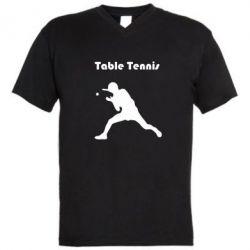 Мужская футболка  с V-образным вырезом Table Tennis Logo - FatLine