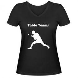 Женская футболка с V-образным вырезом Table Tennis Logo - FatLine