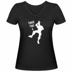 Жіноча футболка з V-подібним вирізом Take L