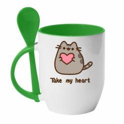 Кружка з керамічною ложкою Take my heart
