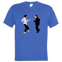 Мужская футболка  с V-образным вырезом Танец Криминальное Чтиво - FatLine
