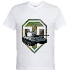 Мужская футболка  с V-образным вырезом Tank and WOT game logo