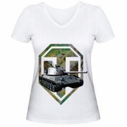 Женская футболка с V-образным вырезом Tank and WOT game logo