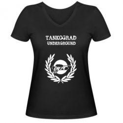 Женская футболка с V-образным вырезом Tankograd Underground