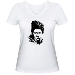 Женская футболка с V-образным вырезом Тарас Григорович Шевченко - FatLine