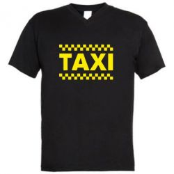 Мужская футболка  с V-образным вырезом TAXI - FatLine