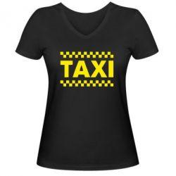 Женская футболка с V-образным вырезом TAXI - FatLine