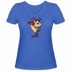 Женская футболка с V-образным вырезом Taz in love - FatLine
