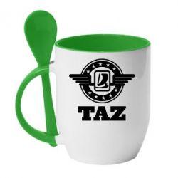 Кружка с керамической ложкой Taz