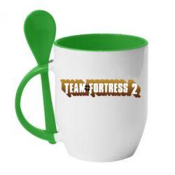 Кружка с керамической ложкой Team Fortress 2 logo