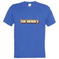 Мужская футболка  с V-образным вырезом Team Fortress 2 logo