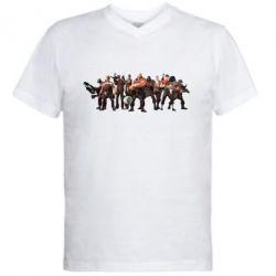 Мужская футболка  с V-образным вырезом Team Fortress gang
