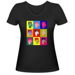 Жіноча футболка з V-подібним вирізом Team Fortress pop art