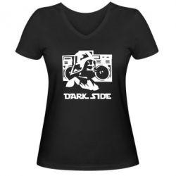 Женская футболка с V-образным вырезом Темная сторона Star Wars - FatLine