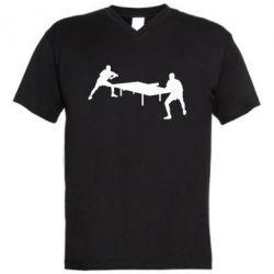 Мужская футболка  с V-образным вырезом Теннисный стол - FatLine