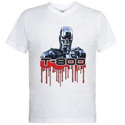 Мужская футболка  с V-образным вырезом Терминатор Т-800