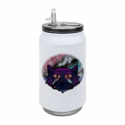 Термобанка 350ml The cat is crying against the backdrop of space