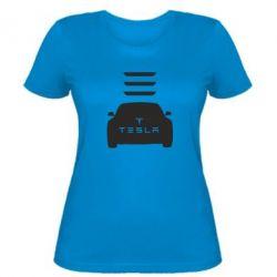 Женская футболка Tesla Car
