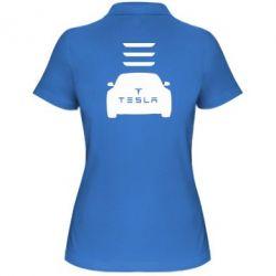 Женская футболка поло Tesla Car - FatLine