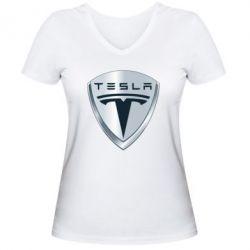 Женская футболка с V-образным вырезом Tesla Corp - FatLine