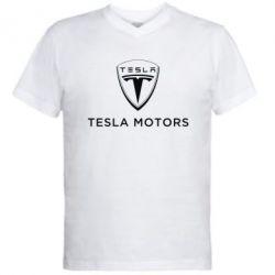 Мужская футболка  с V-образным вырезом Tesla Motors - FatLine