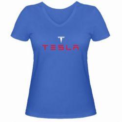 Женская футболка с V-образным вырезом Tesla - FatLine