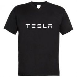 Мужская футболка  с V-образным вырезом Тесла - FatLine