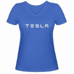 Женская футболка с V-образным вырезом Тесла - FatLine
