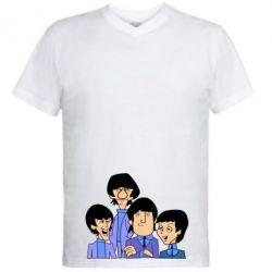 Мужская футболка  с V-образным вырезом The Beatles - FatLine
