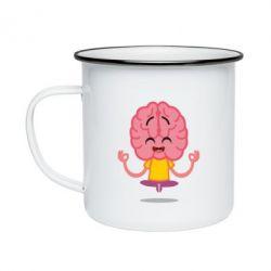 Кружка емальована The brain meditates