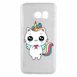 Чохол для Samsung S6 EDGE The cat is unicorn
