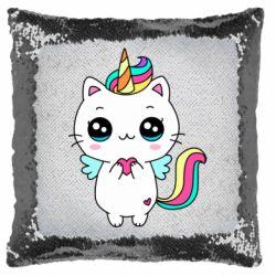 Подушка-хамелеон The cat is unicorn
