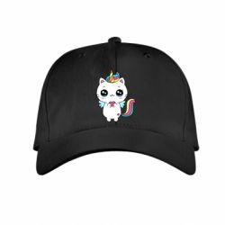 Дитяча кепка The cat is unicorn